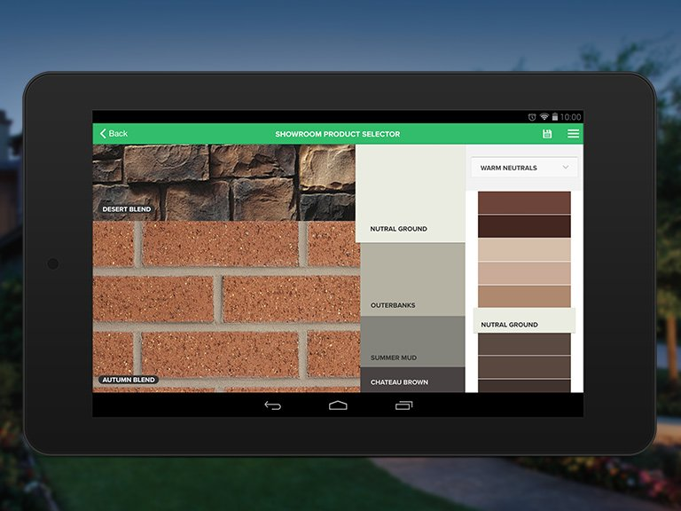 Brick color palette in app